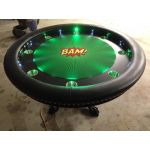 Round Poker Table, Bright Colored LED lights, claw feet, custom felt