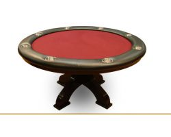 "58"" Custom round poker table w/ arched pedestals"