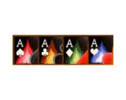 Firey Aces 4 panel Hand Painted art by a famous poker artist