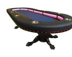 "96"" Custom poker table, claws, LED strip lights & controller, oversized arm rests"