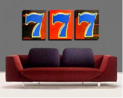 Sevens painting - 3 panel with Sides are staple FREE