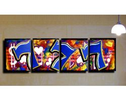 Sevens painting 3 panel with Sides are painted black