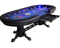 "96"" Custom poker table, bright LED lights & choice of colors"
