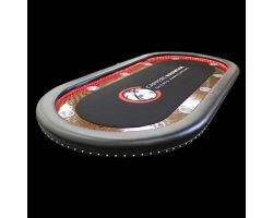 LED rope lights Custom poker table, curved base, choice of vinyl colors