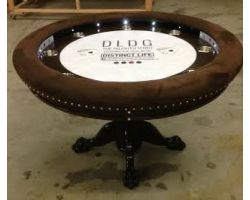 Round Poker Table with choice of vinyl colors