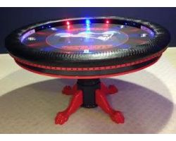 Round Poker Table with Focused LED Lights