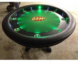 Round Poker Table w/ Custom felt - your choice of color, images, text or logos