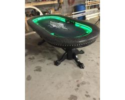 "96"" Custom poker table, claws, LED strip lights & spreader bar, oversized arm rests"